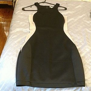 Arden B black dress with sheer side panels